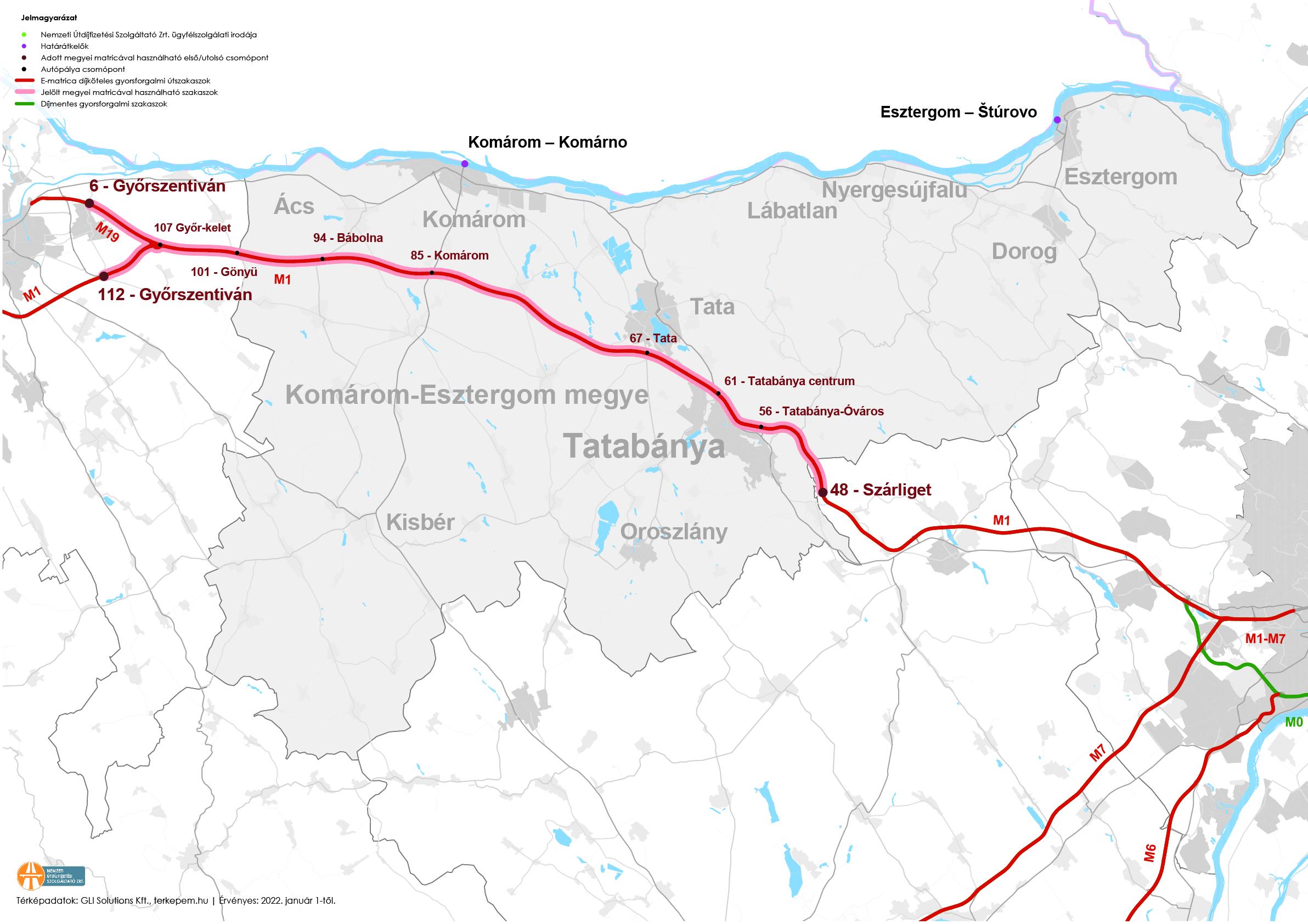 Megyei autópálya matrica határok